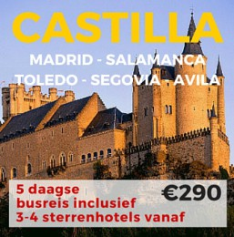 5 daagse busreis CASTILLA- Madrid-Salamanca-Segovia-Toledo