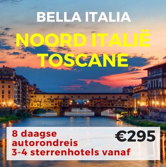 8 daagse autorondreis Noord Italië en de Toscane